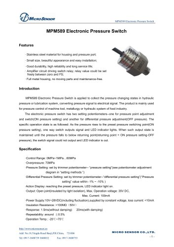 MPM589 Electronic Pressure Switch