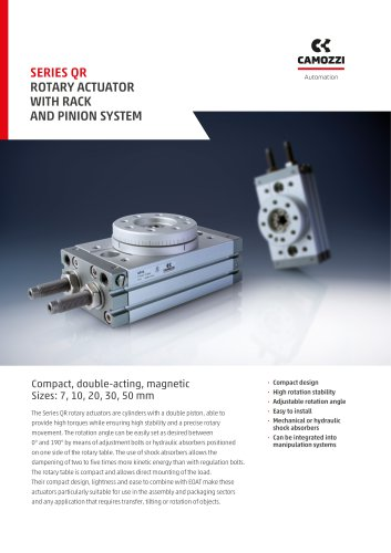 Series QR rotary actuator with rack and pinion system EN