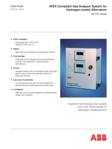 ATEX Compliant Gas Analyzer System for Hydrogen-cooled Alternators AK100 Series