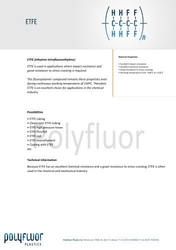 Datasheet material: ETFE