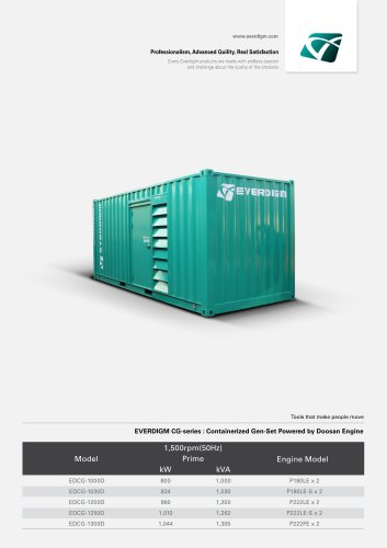 EVERDIGM CG-series : Containerized Gen-Set Powered by Doosan Engine