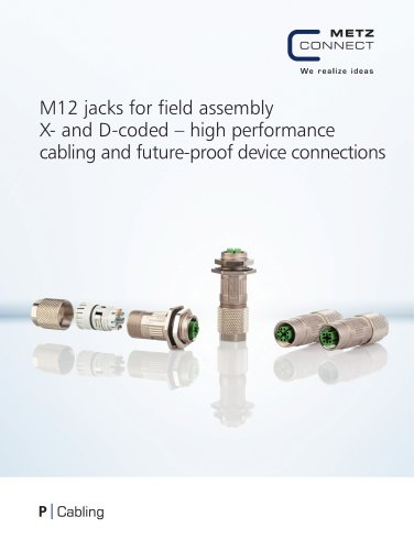 P|abling - M12 jacks for field assembly X-coded Connecting worlds