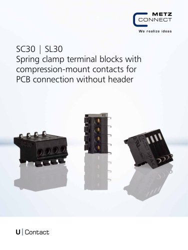 U Contact - SC30   SL30 Spring clamp terminal blocks with compression-mount contacts for PCB connection without header