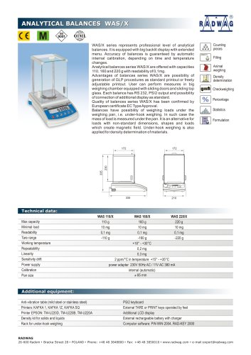 Analytical balances WAS/X