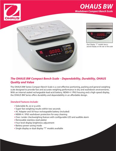 OHAUS BW Washdown Compact Bench Scale BW15US