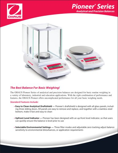 Pioneer ®  Series Analytical and Precision Balances