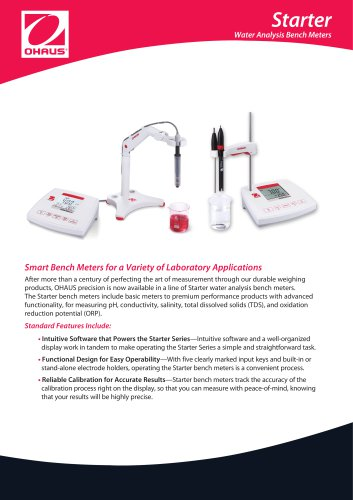 Starter  Water Analysis Bench Meters Smart Bench Meters for a Variety of Laboratory Applications