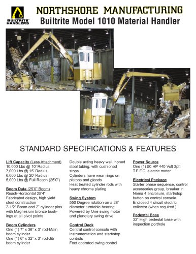 1010-SE Stationary Electric Material Handler specification sheet