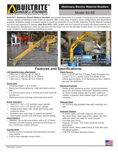 40-SE Stationary Electric Material Handler specification sheet