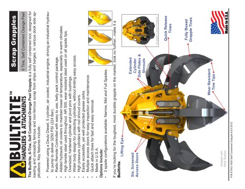Builtrite Model 6TSG-1000, 10 Yard Capacity, Self Contained Scrap Grapple