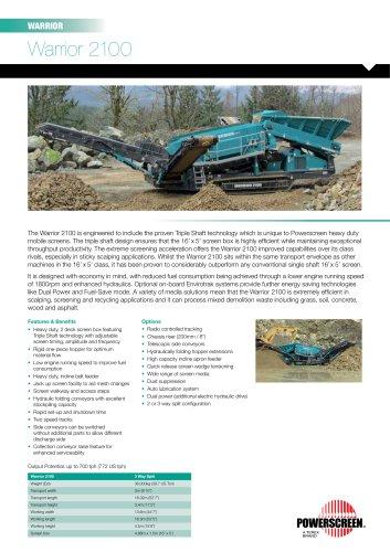 Powerscreen Warrior 2100 Screening Brochure