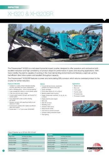 Powerscreen XH320 & XH320SR Impactor Crusher Brochure
