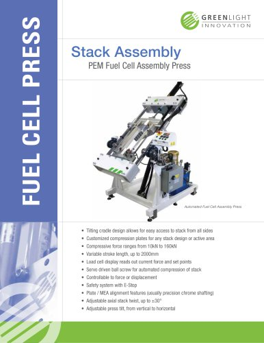 Stack Assembly PEM Fuel Cell Assembly Press