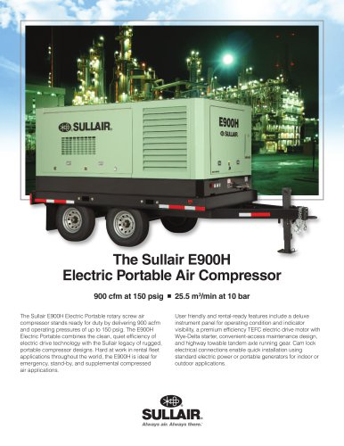 The Sullair E900H Electric Portable Air Compressor