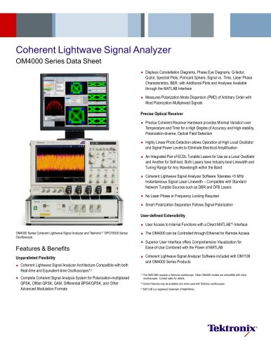 Coherent Lightwave Signal Analyzer OM4000 Series