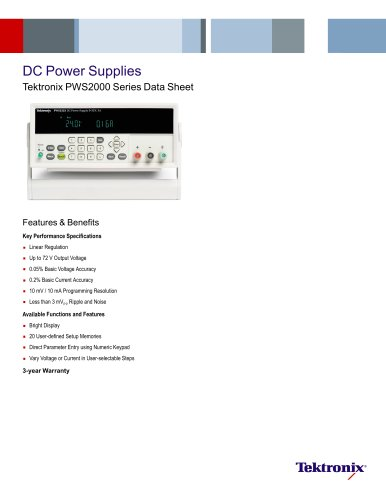 DC Power Supplies Tektronix PWS2000 Series