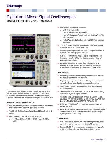 Digital and Mixed Signal Oscilloscopes MSO/DPO70000 Series