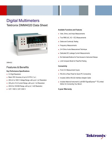 Digital Multimeters Tektronix DMM4020