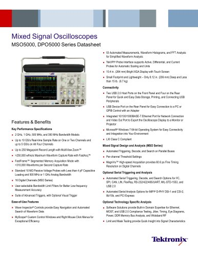 Mixed Signal Oscilloscopes MSO5000, DPO5000 Serie