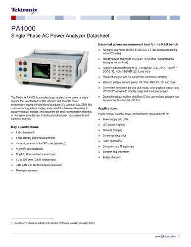 PA1000 Single Phase AC Power Analyzer