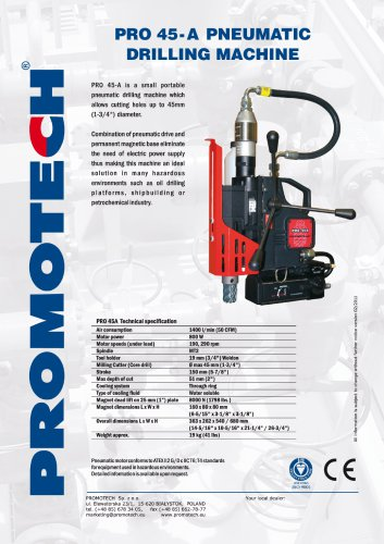PRO-45 A Pneumatic Mag Drill - Promotech - PDF Catalogs