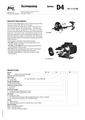 High & Medium pressure pumps D4 - IMO AB - PDF Catalogs