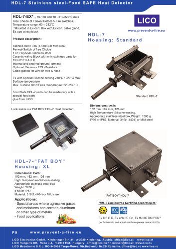 LICO HDL7 - Exe Stainless-Junctionbox - Heat- & Fire Detector