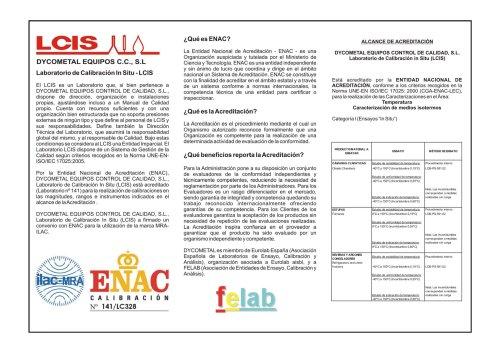 DYCOMETAL - Laboratorio de Calibración In Situ LCIS
