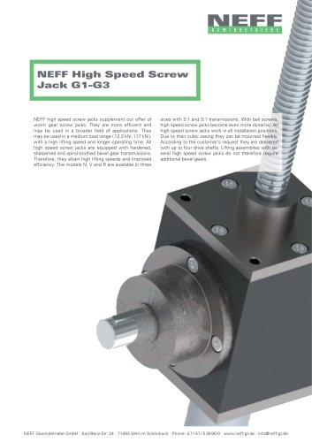 High Speed Screw Jack G1-G3