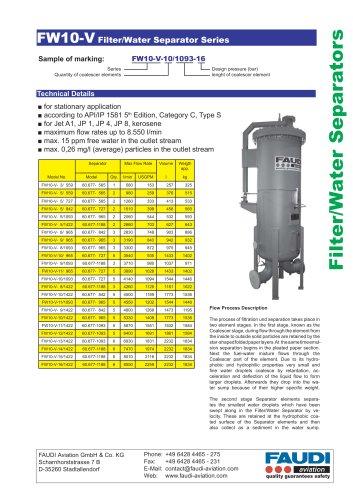 Filter/Water Separator type FW10-V