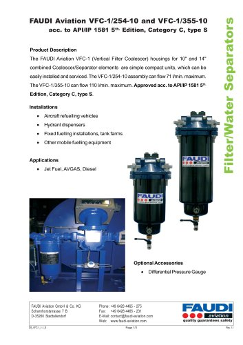 Filter/Water Separator type VFC-1/254-10 & VFC-1/355-10
