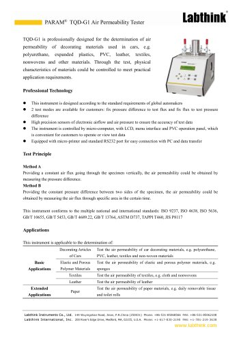 Air Permeability of Fabric Testing Equipment