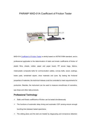 Coefficient of friction tester for plastics film