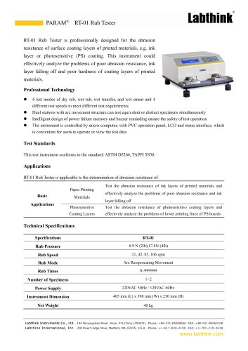 Film Coated Surface Rub Resistance Performance Tester