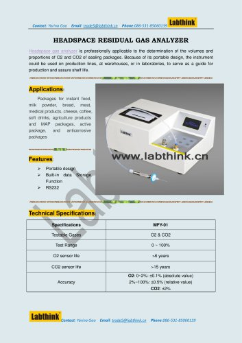 Gas Analyzer to check the oxygen level and carbon dioxide level in plastic medicine container / pack