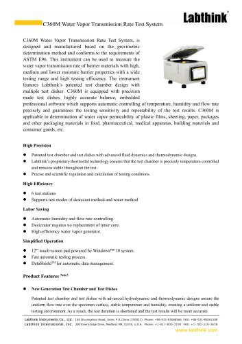 Gravimetric Method Wide Range WVTR Moisture Permeability Test Equipment