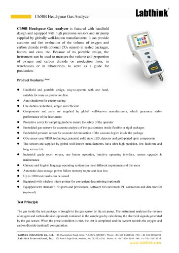 High Precision Fruit MAP Headspace Oxygen Analyzer