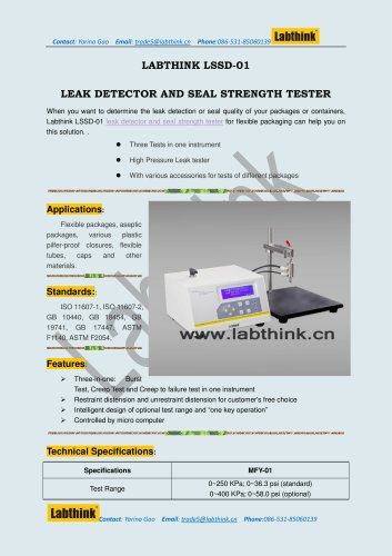 High Pressure Leak Tester for Package ASTM F2054, ASTM F1140