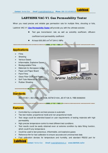 Laboratory Equipment -- gas Permeability Tester for Cosmetic Bag