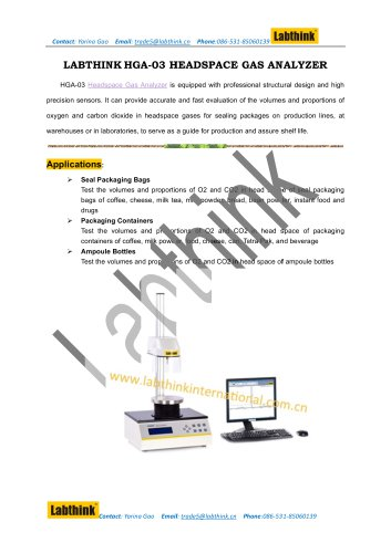 Laboratory Equipment - Headspace Analyzer for Food package