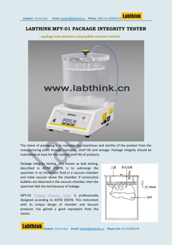 Laboratory Equipment -- Leak Test machine for Food package