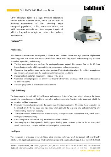 Laboratory ISO Standard Plastics Sheeting Film Thickness Measuring Instrument Micron Measure