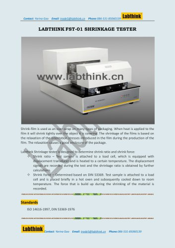 Labthink FST-02 Heat Shrinkage Test Machine to measure shrinkage force and ratio of Plastic Food Packaging