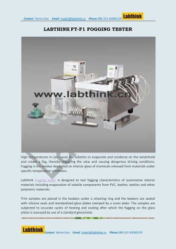 Labthink FT-F1 Fogging Test Equipment for Leathers and Fabrics