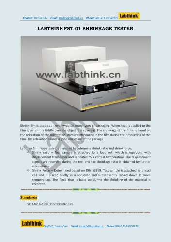 Labthink Heat Shrink Film Force at Break Testing Equipment
