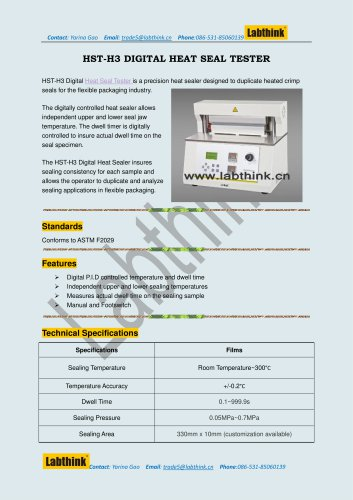 Labthink HST-H3 Heat Seal Tester / Seal Strength test Machine for Aseptic Bags Packaging
