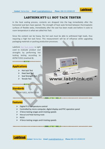 Labthink HTT-L1 is an equipment for hot tack testing for plastic films