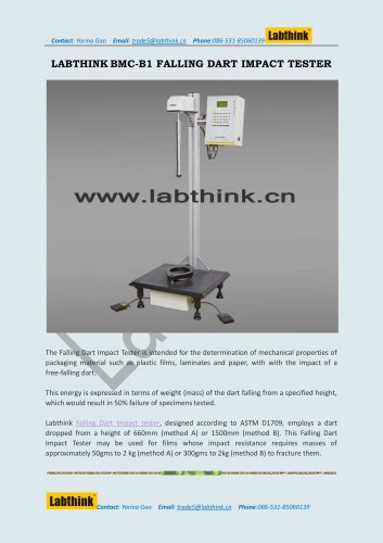 Labthink Impact Testing Machine to measure Impact Resistance of polymer foils