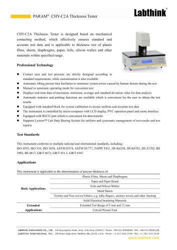 Labthink Mechanical Scanning Sheets Film Thickness Measuring Instrument Micron