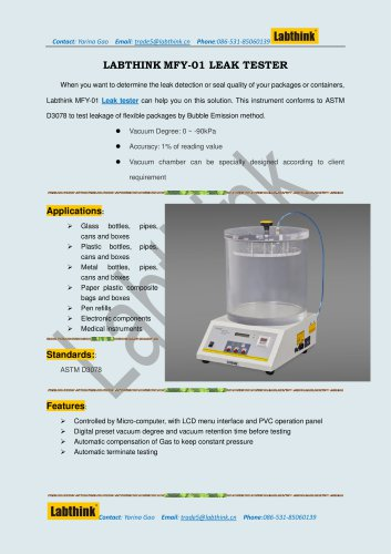 Labthink MFY-01 Leakage Tester to measure seal properties and performance of Plastic Food Packaging